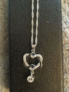 AAA Zircon Heart Shaped drop 10k white gold filled necklace