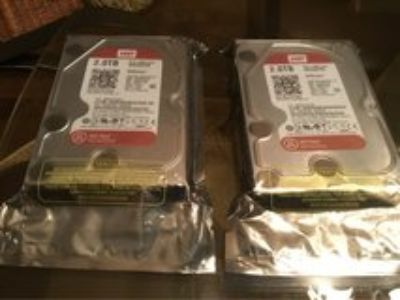 2 Brand New Hard Drives 2.0TB -SATA /64 MB WD20EFRX-$80.00 each- still in package never opened