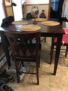 High top kitchen table with 4 chairs