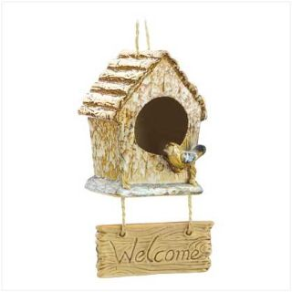 "Designer Birdhouse: Ceramic ""Folk Art Welcome"" 12008 New"