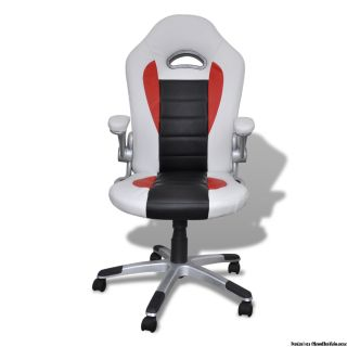 Desk Office Chair Artificial Leather Adjustable Height Modern - White - BRAND NEW