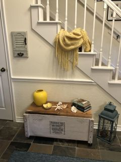 Farmhouse rustic rolling storage bench. Lid is hinged! Price drop!