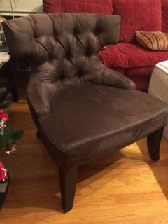 Faux suede brown accent chair