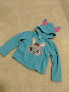 24Mos Wonderkids Teal Flannel Jacket with Bunny and Bunny Ears!