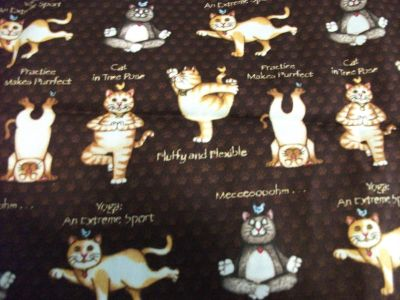 """Fabric - Yoga Cats - 42"""" x 44"""" wide"""