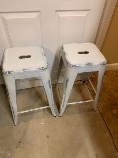 Two bar stools metal white $30
