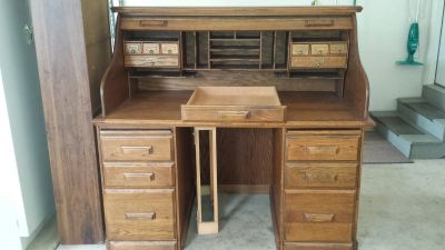 Oak roll top desk and chair