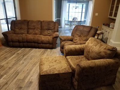 Living room furniture, couch recliner chair with ottoman
