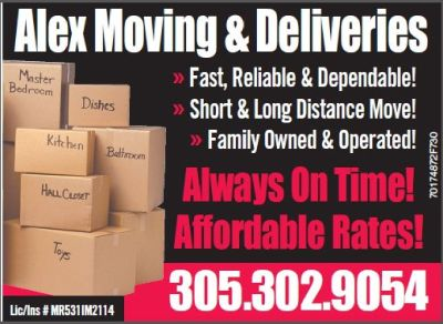 ALEX MOVING & DELIVERY INC. 305-302-9054 Movers