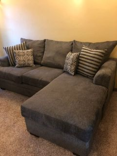 Charcoal Sofa with Ottoman (can be used on either side)