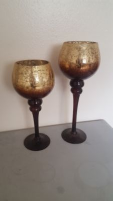 Brown/Gold Candle Holders
