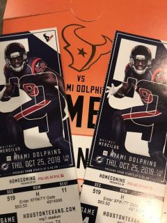 Texans vs Dolphins. 10/25 with parking