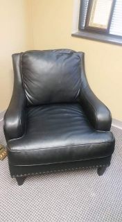 Three (3) leather club chairs