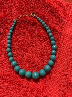 Teal blue beaded necklace