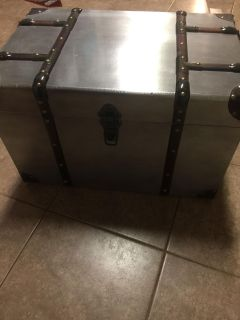 Cute Small Metal Trunk with wood trim For Sale