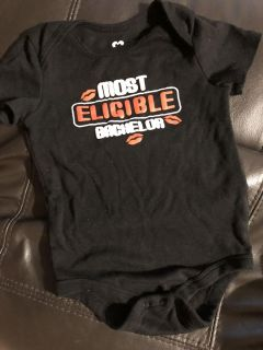 Most Eligible Bachelor Black Onesie Playsuit. Nice Condition. Size 24 Months