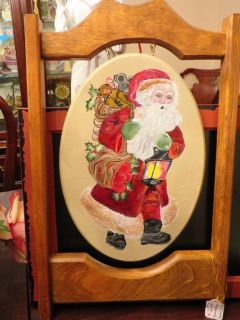 Wooden Hanging Hand Painted Santa Wall Art or Plaque - BRAND NEW!