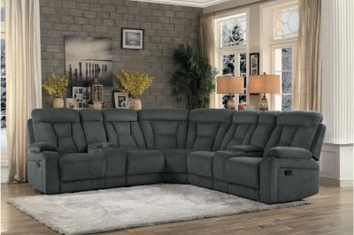 """NEW! URBAN QUALITY """"COMFY"""" GREY SOFA RECLINER SECTIONAL"""