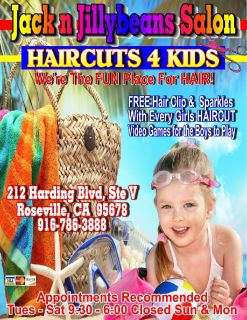 Jack n Jillybeans Salon HAIRCUTS 4 Kids 916-0786-3888