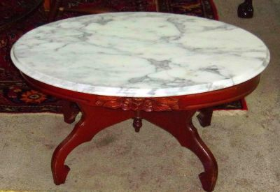 Gorgeous Antique Rose Carved Marble Top Table