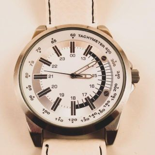 White Watch with Leather Band