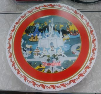 Disneyland Holiday Christmas Metal Plates with Tin Container