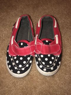 VGUC Black/red boat shoes