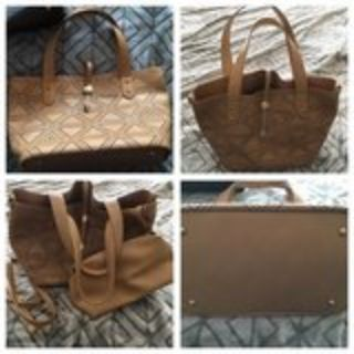 New camel colored purse+pouch, never used, nice!