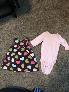 Brown dress with hearts and long sleeve pink onesie