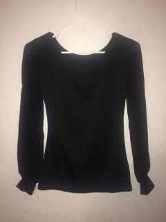Soft Stretchy Top with Sheer Sleeves