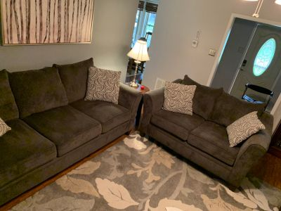 Couch, love seat and comes with pillows! Only 1 year old paid $900 asking $450 OBO