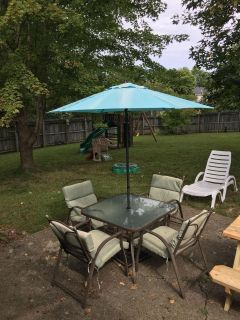 Patio Table and chairs plus umbrella