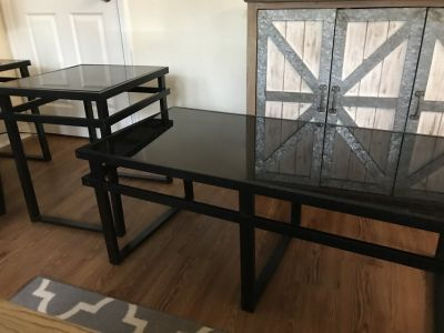 Black Glass and Metal Coffee Table and 2 End Tables (Ashley Furniture)