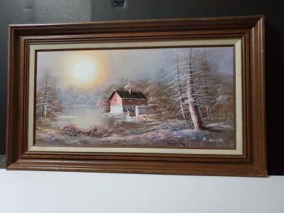 Oil Painting By H. WILSON Winter Landscape