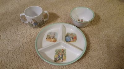 Pottery Barn Kids Peter Rabbit Cup Bowl Plate