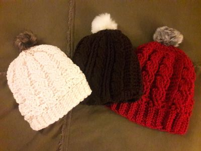 Cable hats with fur Pom Pom
