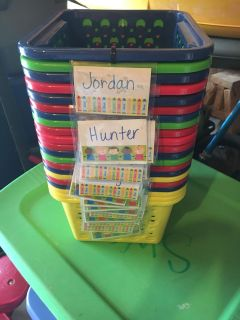 Small baskets used in classroom