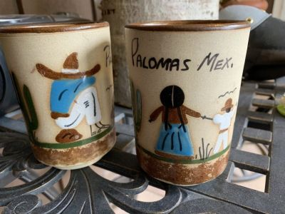 2 ceramic glasses w/Mexican design from Palomis