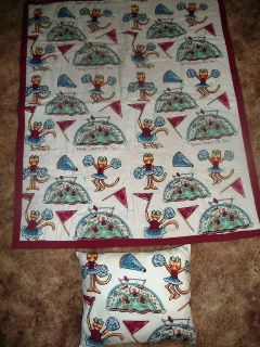 NEW HANDMADE Large Little Girl s Cheerleading QUILT with Matching Pillow