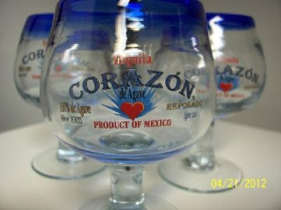 $30 3 Corazon Tequila Hand Blown MINI Shot Glass Snifters, New/Never Used