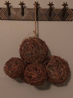 5 varied sizes of wicker globes- hanging decoration