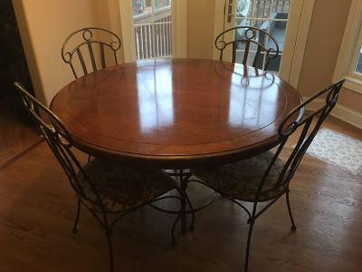 56 Roubd Solid Cherry Kitchen Table w/ Iron Chairs