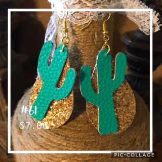 Turquoise cactus and gold earrings