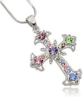 CLEARANCE **BRAND NEW***Pastel Multi Color Crystal Cross Silver Tone Necklace***