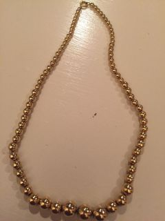 Awesome vintage gold beaded necklace on chain (nice quality)