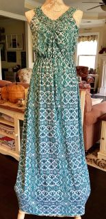 FADED GLORY Casual/Career/Church Green/White Patterned Spandex Maxi Dress -Size Large