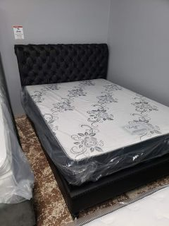 Brown faux leather queen size bed