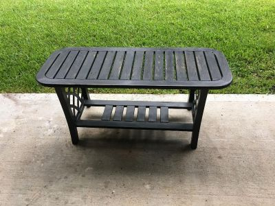 Wood & Metal Patio table H20; W43; D17