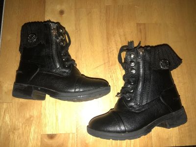 Michael Kors Childs Size 10 Blk Zipper Side/Lace Up Booties $15 Must PU In McDonough