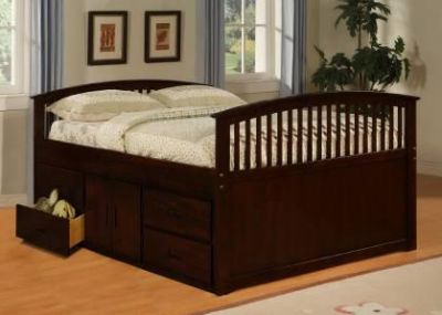 $439, Solid wood full size bed with plenty of storage- VERY NICE